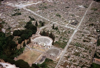 The Roman city of Pompeii with the theatre and the odeion in the center.